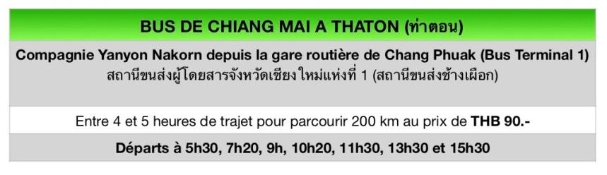 Bus de Chiang Mai à Thaton